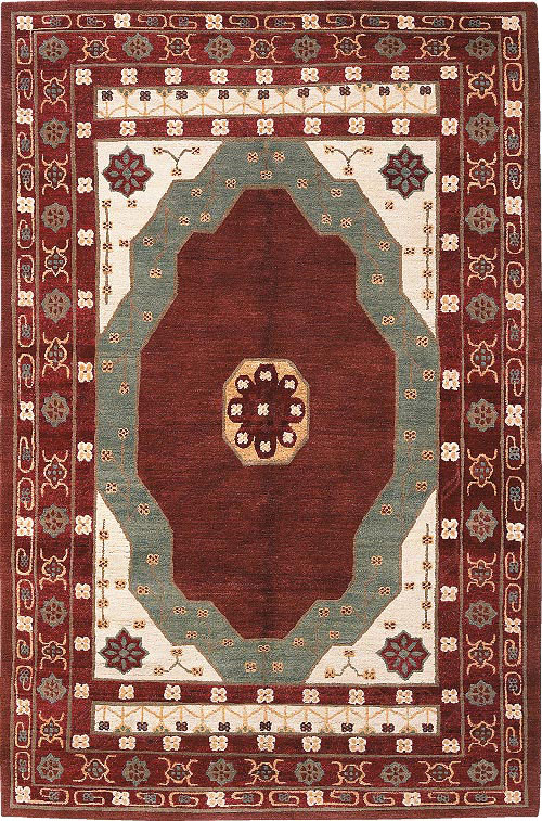 Oushak Medallion Burgundy