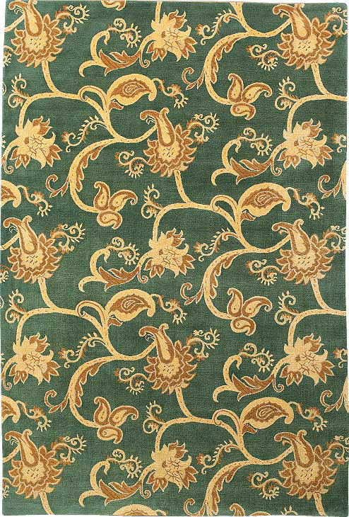 Brocade Scroll Green